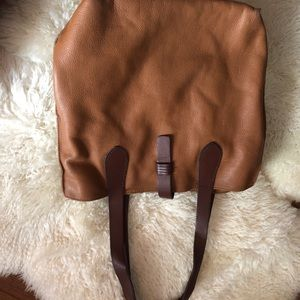 Lucky brand leather bag with leather clasp